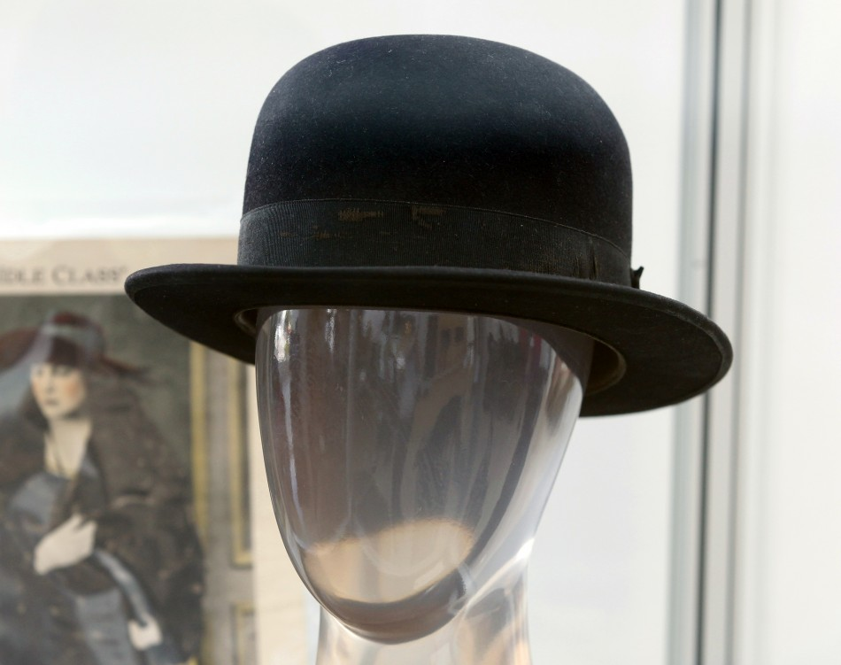 Charlie Chaplin's signature bowler hat is pictured at a preview of actress Debbie Reynolds' Hollywood costume and prop collection in Beverly Hills