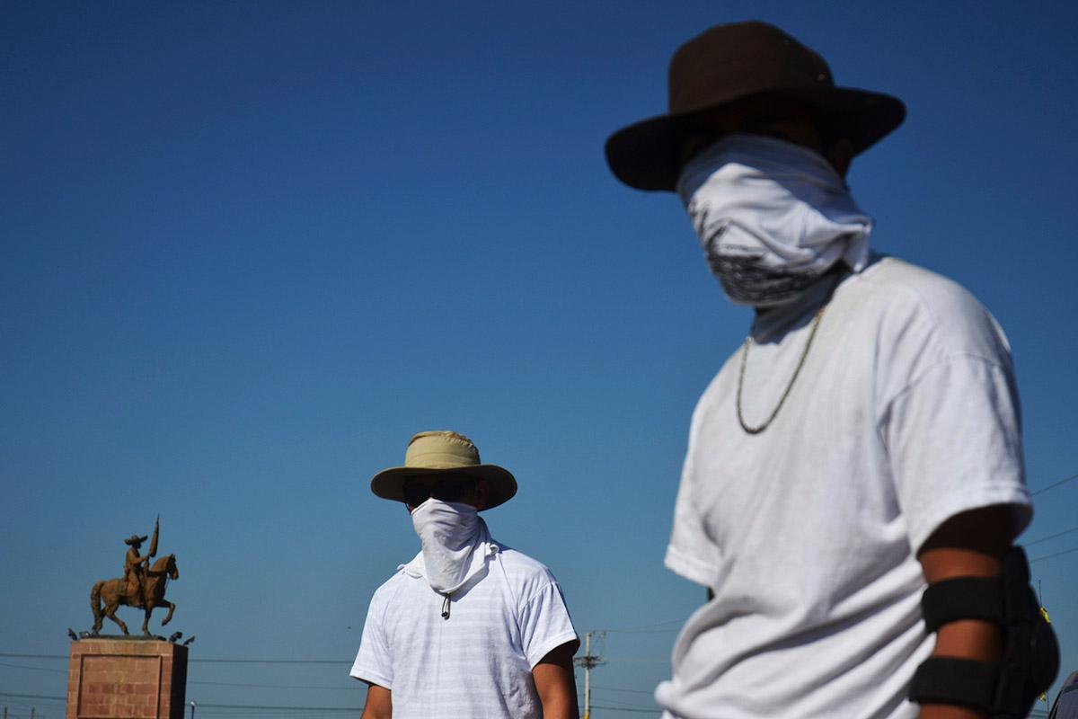 Mexican Masked Vigilantes Masked Vigilantes Stand at a