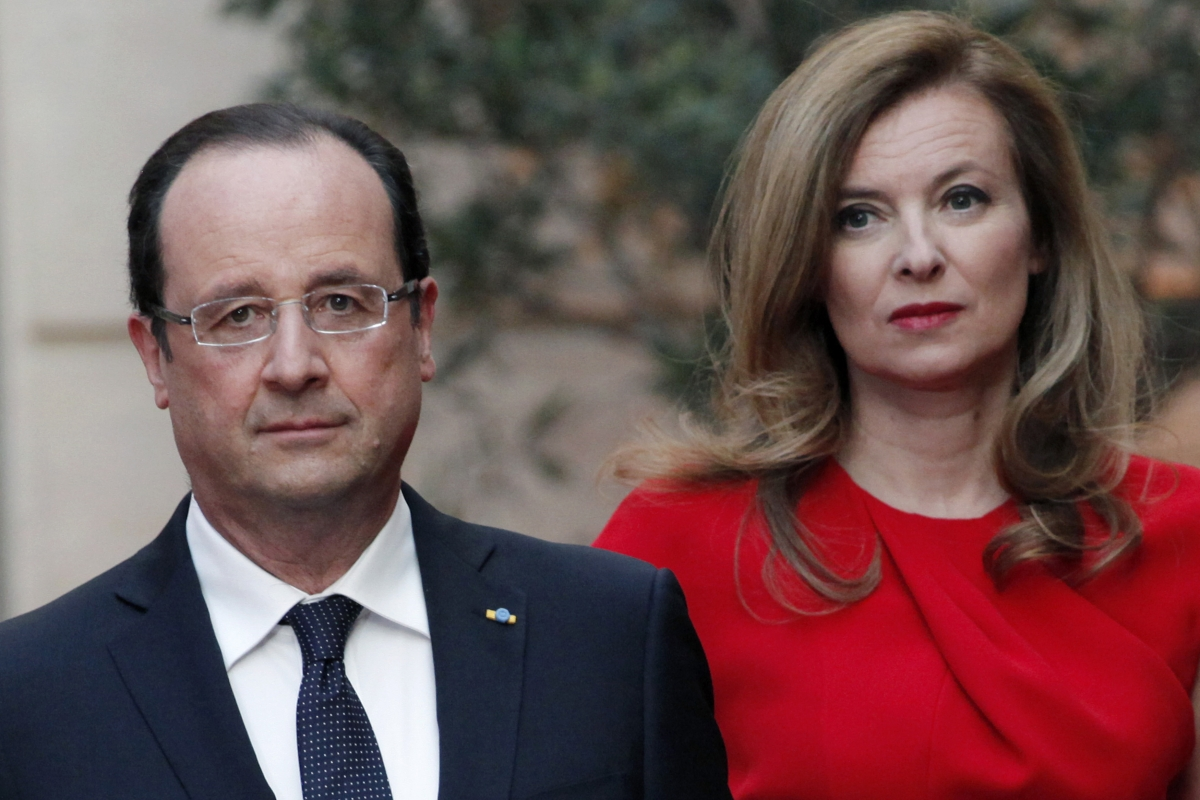 French President Francois Hollande and his former companion Valerie Trierweiler