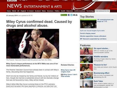 Miley cyrus death hoax hannah montana died of drug and alcohol abuse