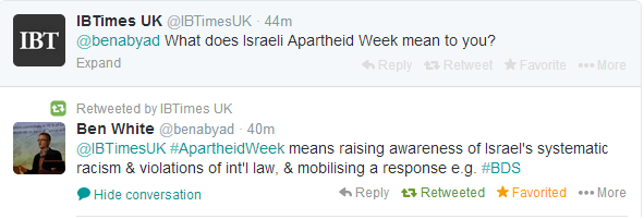 Ben White Israeli Apartheid Week
