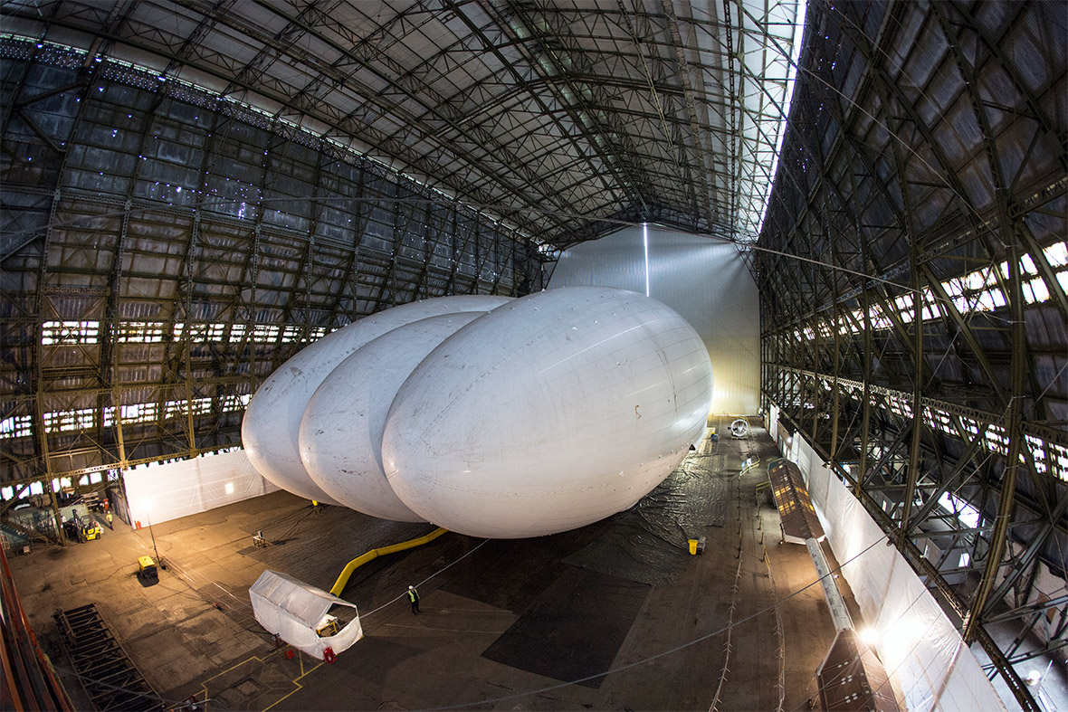 The Airlander is being housed in Bedfordshire at Cardington hangar, where R101, the ill-fated airship, was built in the 1920s