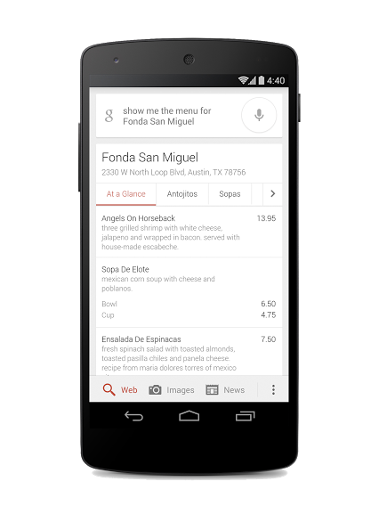 Google Takes on Yelp and Foursquare With Restaurant Menu Search Service