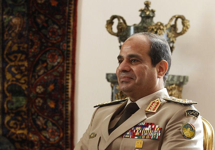 Egypt's army chief and defence minister General Abdel Fatah el-Sisi attended the televised press conference during which the alleged A
