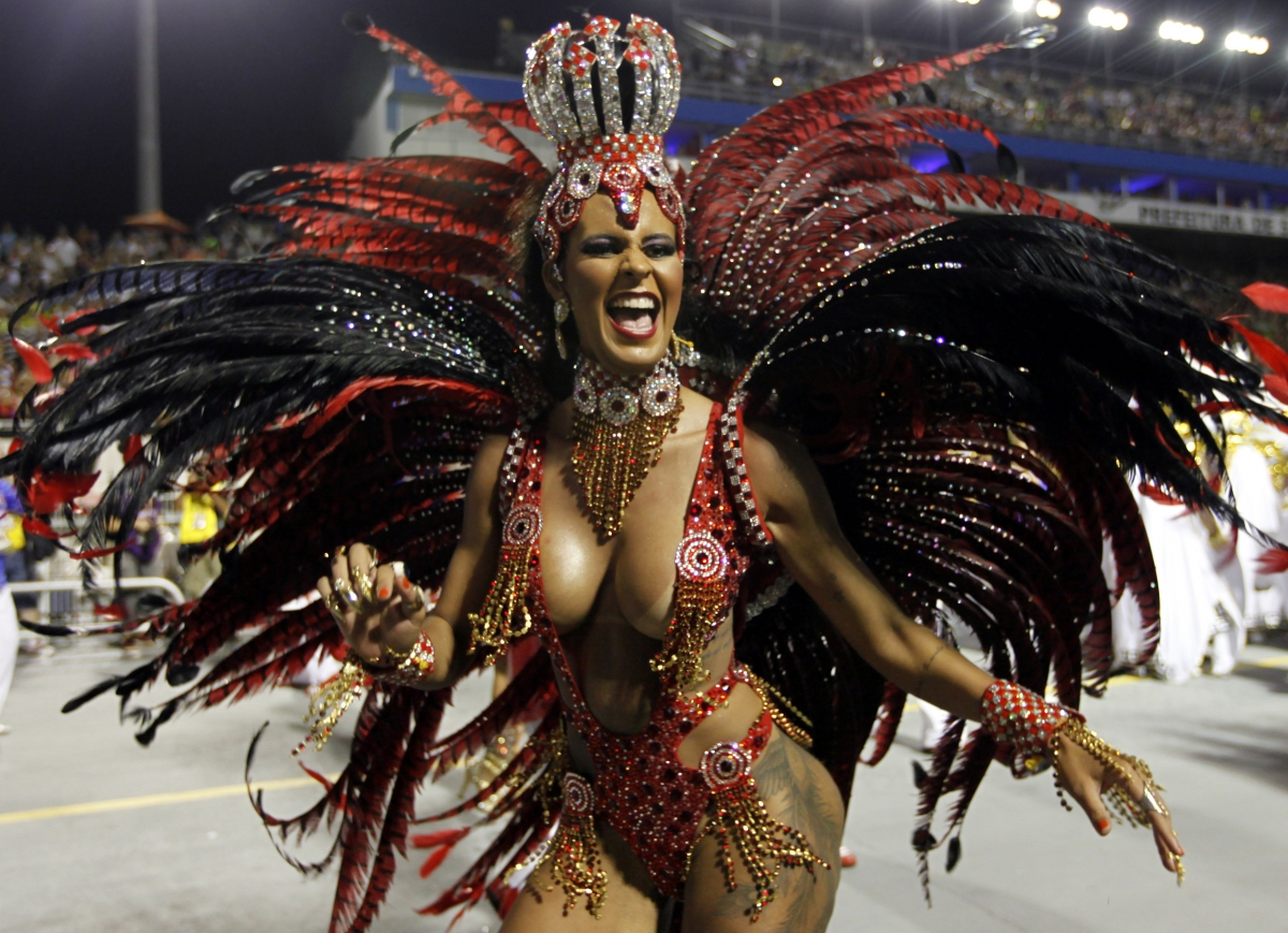 A reveller from the Perola Negra samba school takes part in the Special Group category of the annual Carnival parade in Sao Paulo's Sambadrome March 1, 2014.