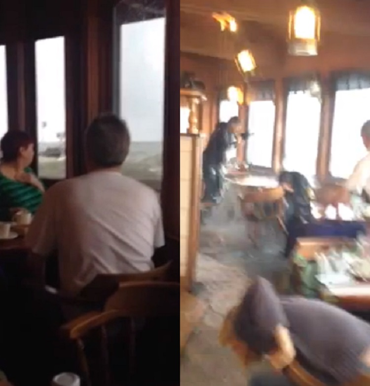 People dived for cover as the huge swell broke over the Moby Dick restaurant in California