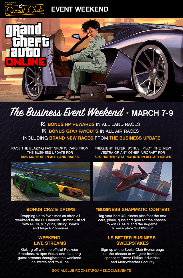 GTA 5 Online: Business Weekend Social Club Event Kicks Off 7 March, Where