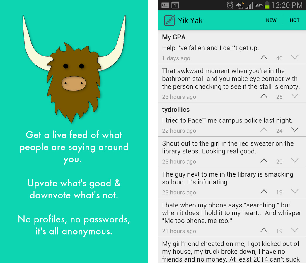 hook up on yik yak For the last six weeks or so, every time i get bored, or check facebook on my phone, i've also opened up the mobile messaging app yik yak unlike facebook, it forces all its users to be.