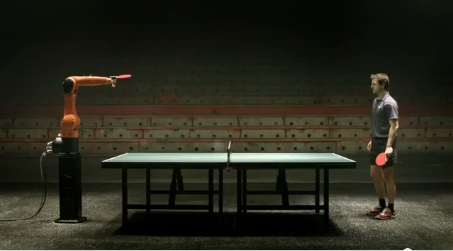 Robot Faces Timo Boll Table Tennis Champion