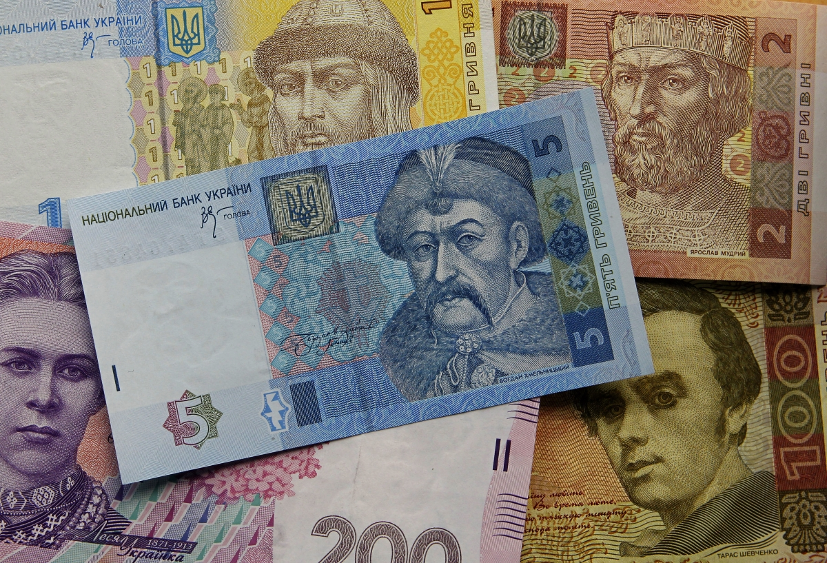 Banknotes of Ukrainian hryvnia are seen