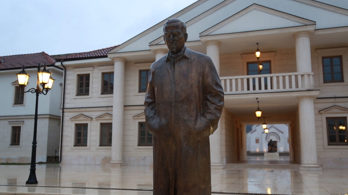 Statue of Nobel prize winner Ivo Andrić dominates Andricgrad main square