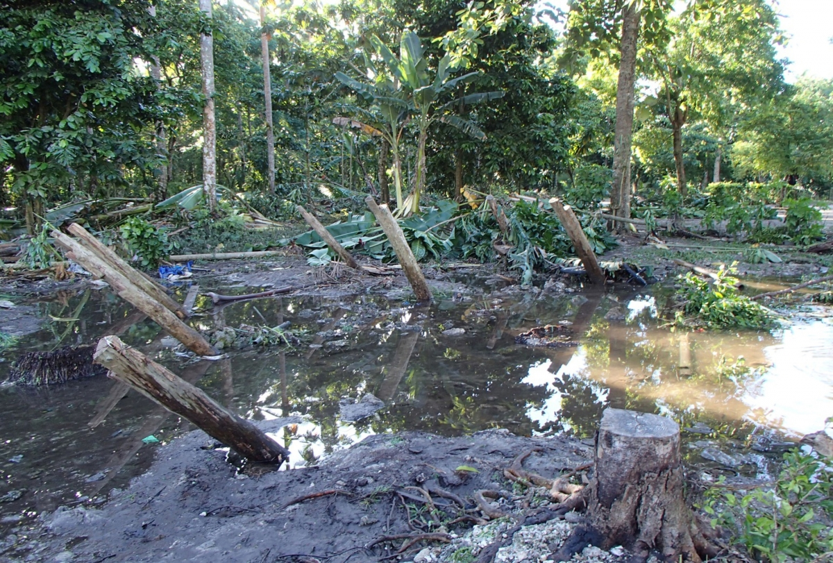 Damage caused by a tsunami that struck the Solomon Islands in February 2013.