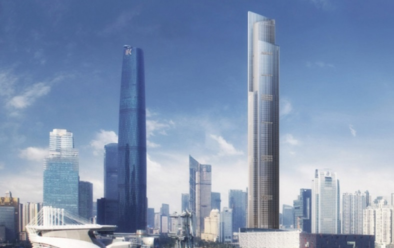 Guangzhou CTF Financial Centre (right) will house two elevators capable of hitting 45mph