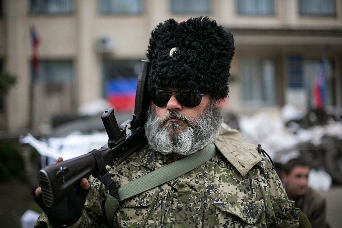 An armed pro-Russian man Russian