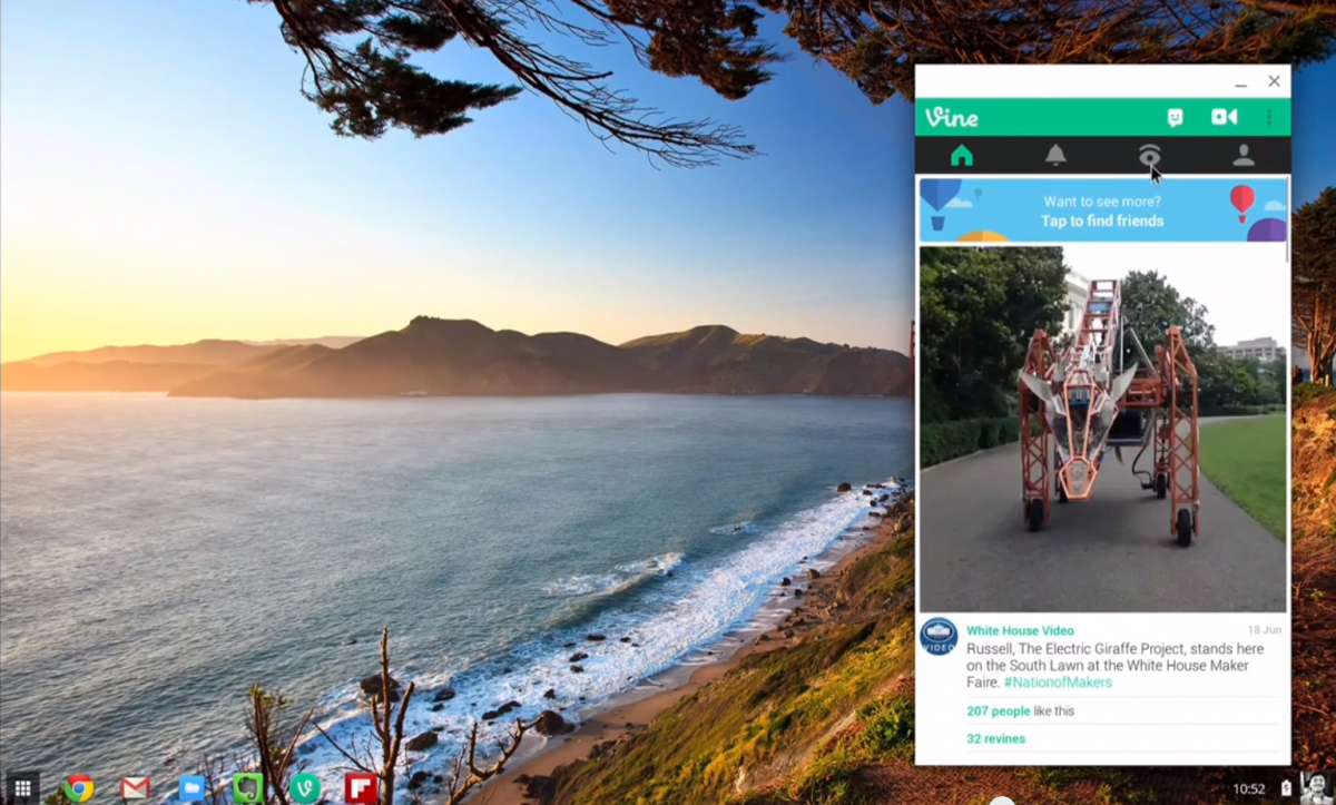 Vine Android App Working on Chromebook laptops