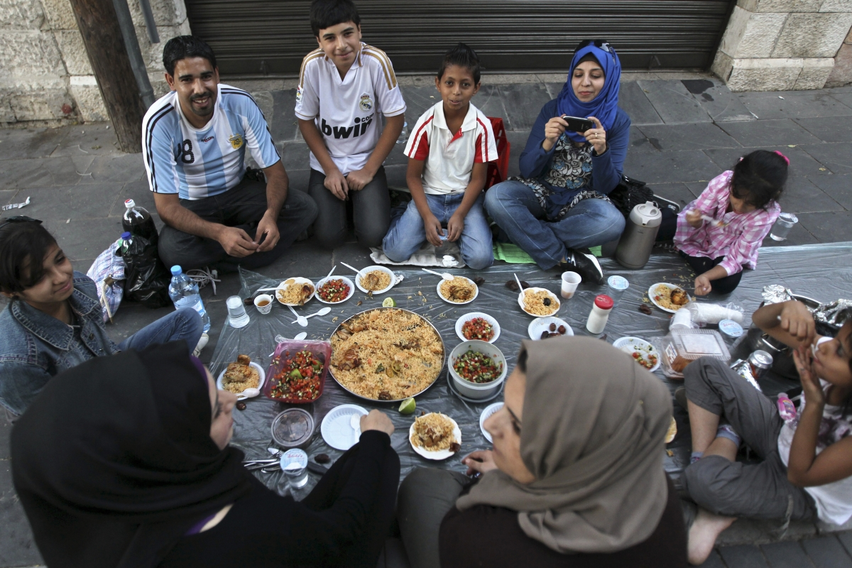A family breaks fast together in Amman