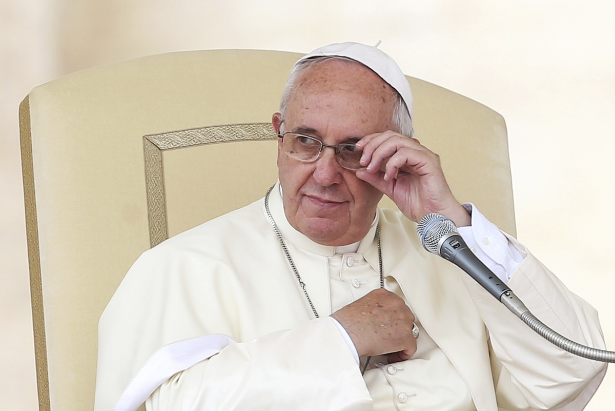 Pope Francis looks on during his Wednesday general audience in Saint Peter's square at the Vatican