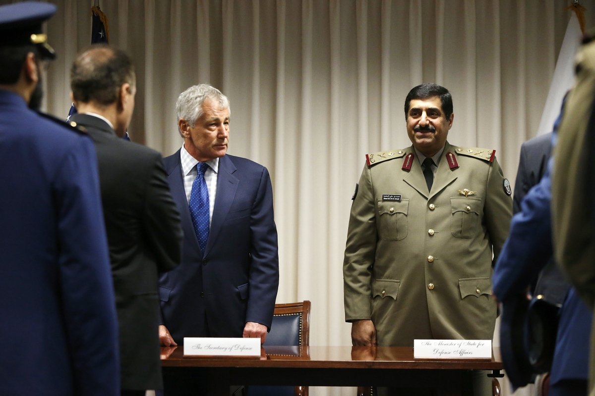 Chuck Hagel, Major General Hamad Bin Ali Al Attiyah