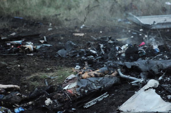 Bodies amongst the wreckages of the Malaysian airliner carrying 295
