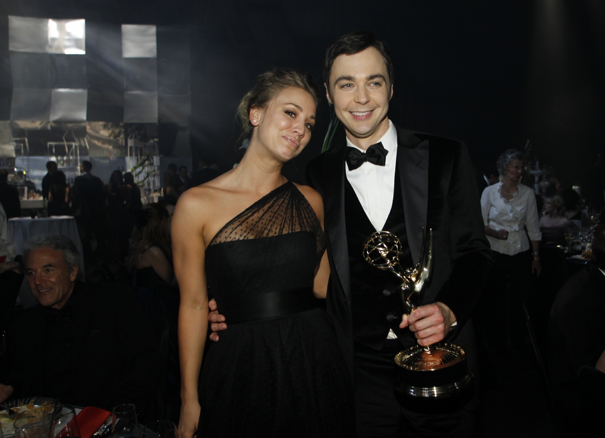 "Actress Kaley Cuoco and actor Jim Parsons from ""The Big Bang Theory"""