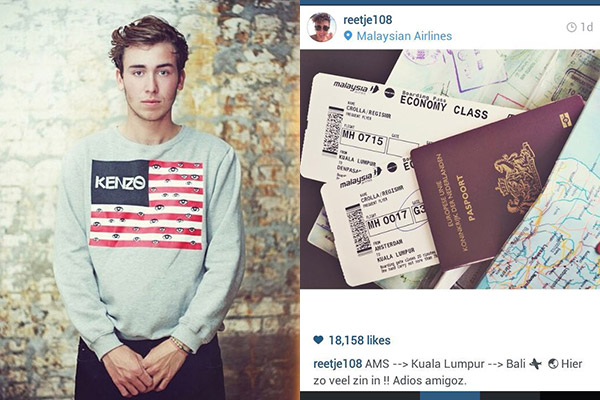 Regis Crolla, a young Dutch man, a picture of his ticket on Instagram, saying
