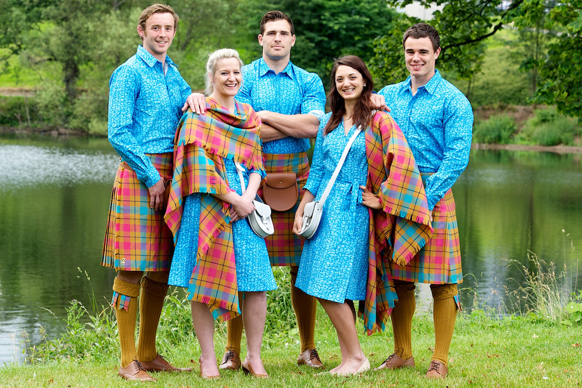 ... show off their 2014 Commonwealth Games parade outfits Team Scotland