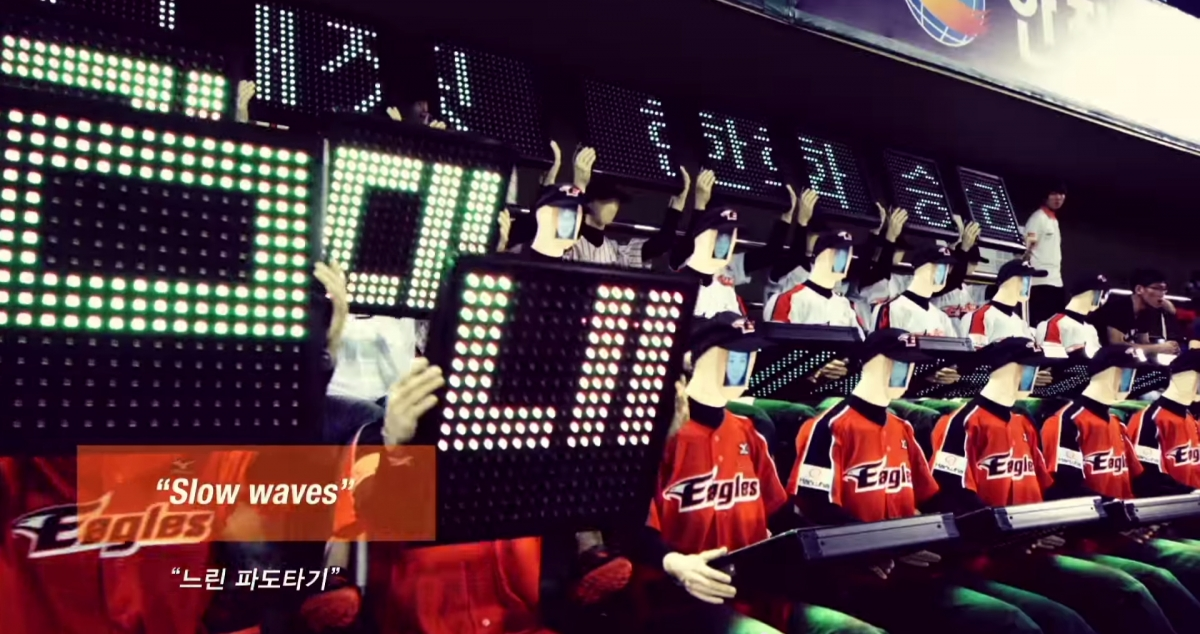 "Hanwha Eagles's cheerleading ""fanbots"""