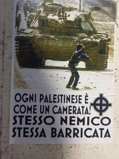 """Each Palestinian is a camerata [the Italian word for members of Mussolini's fascist movement]. Same enemy, same barricade""."