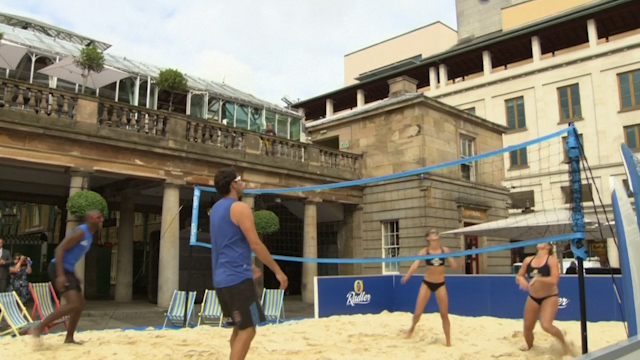 Olympic Beach Volleyball Players Take to the Sand in Covent Garden