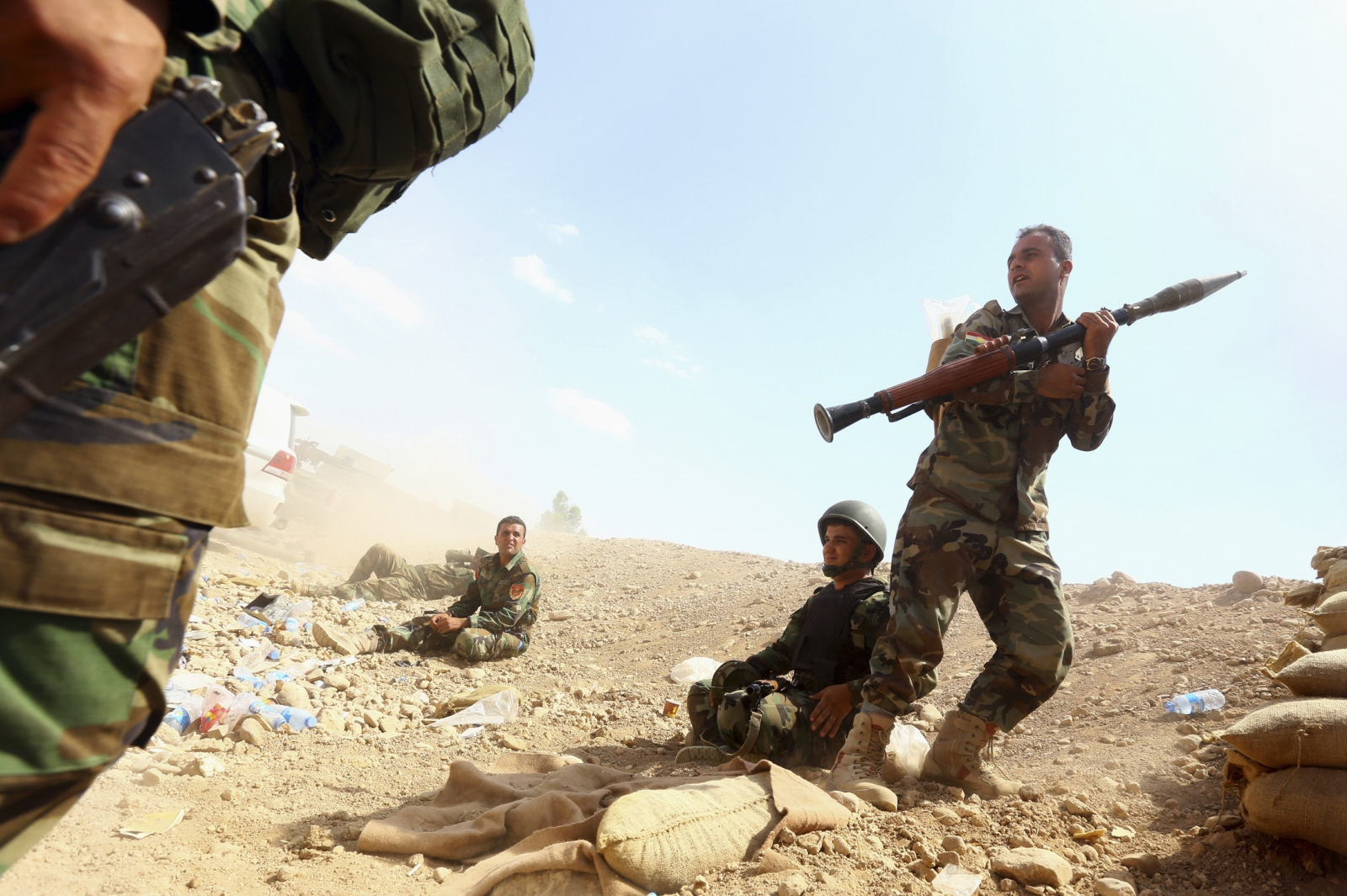 "Kurdish ""peshmerga"" troops take part in an intensive security deployment against Islamic State militants"