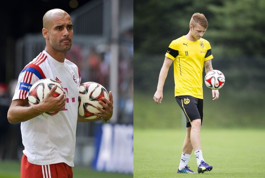 Pep Guardiola and Marco Reus