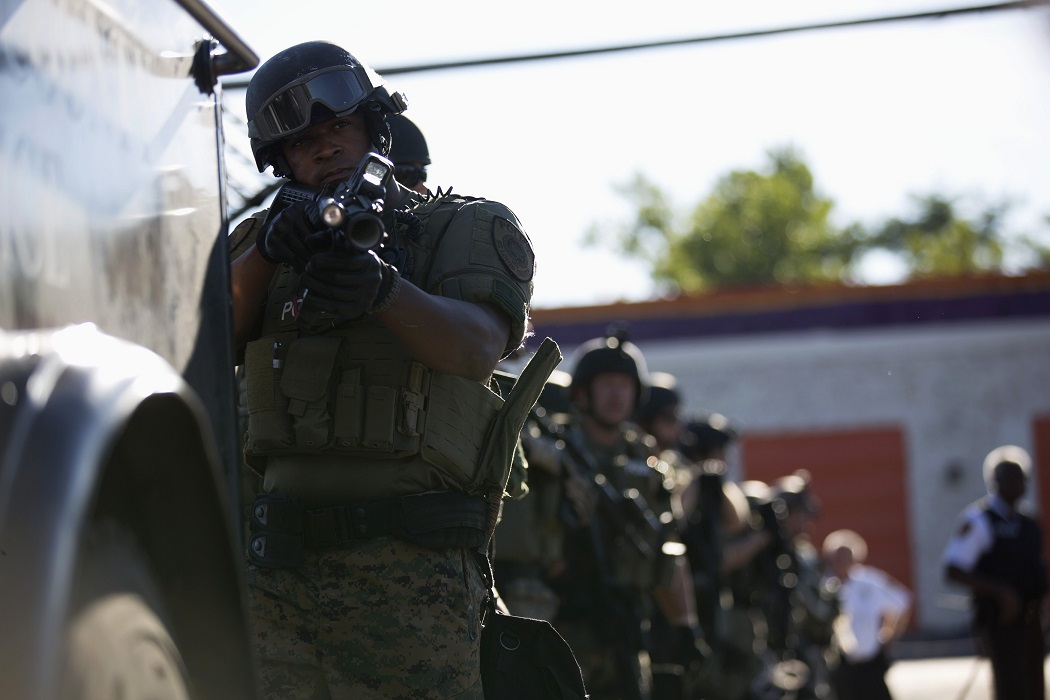 A Ferguson police officer in riot gear