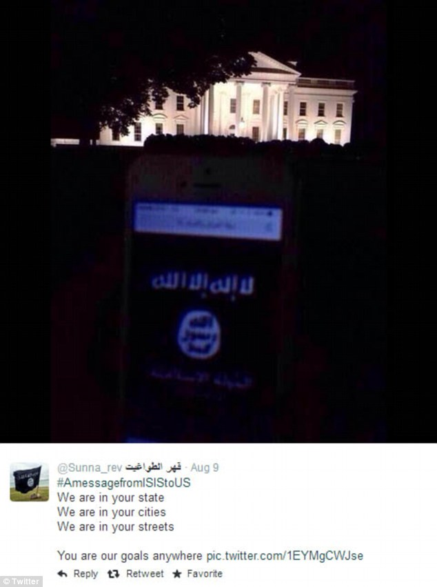 Tweet showing a smartphone displaying the Isis flag on Pennsylvania Avenue, near the White House (Twitter)