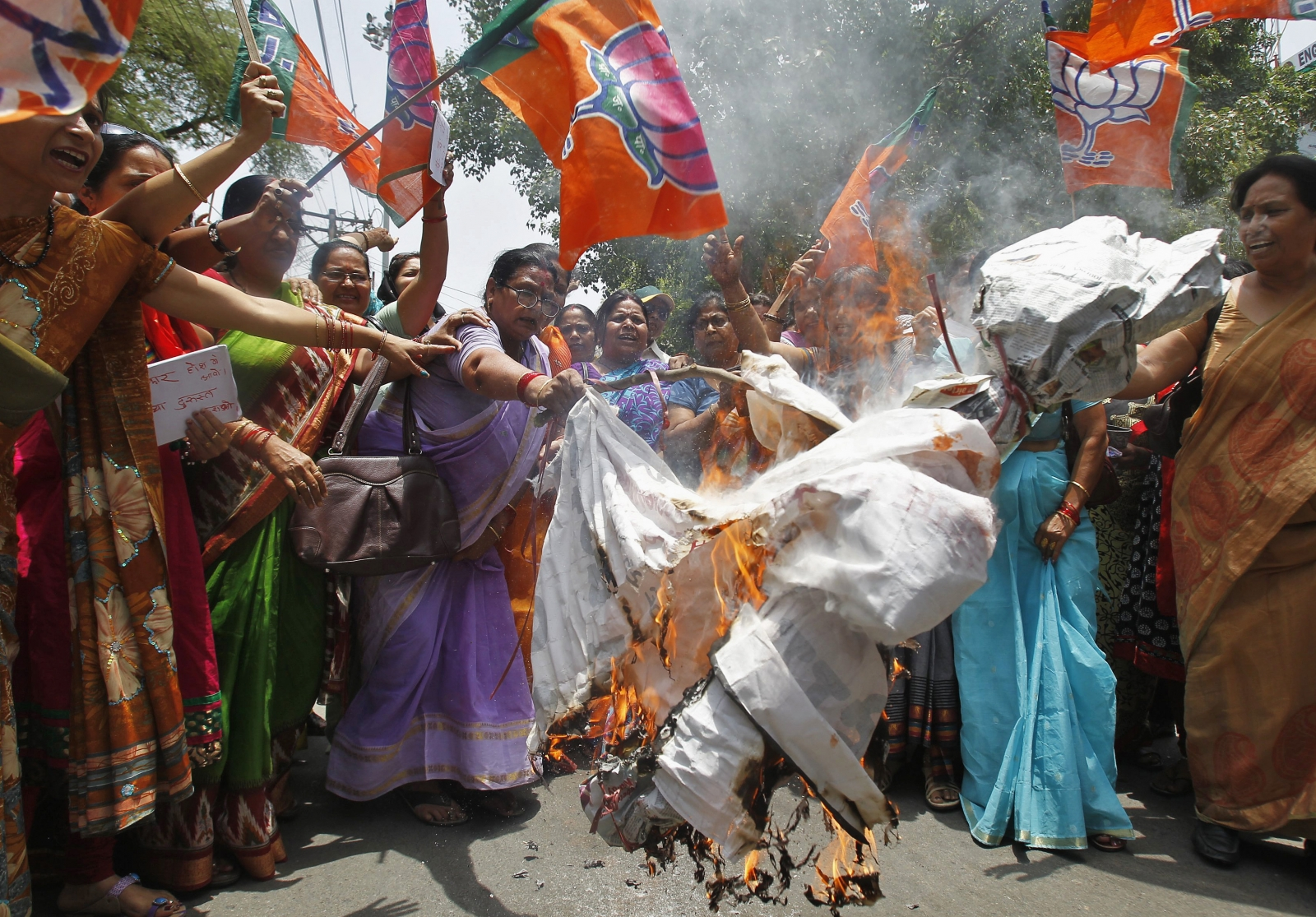Uttar Pradesh BJP protest burning