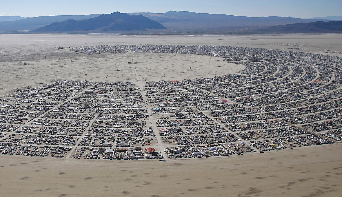 An aerial view of the Burning Man 2014