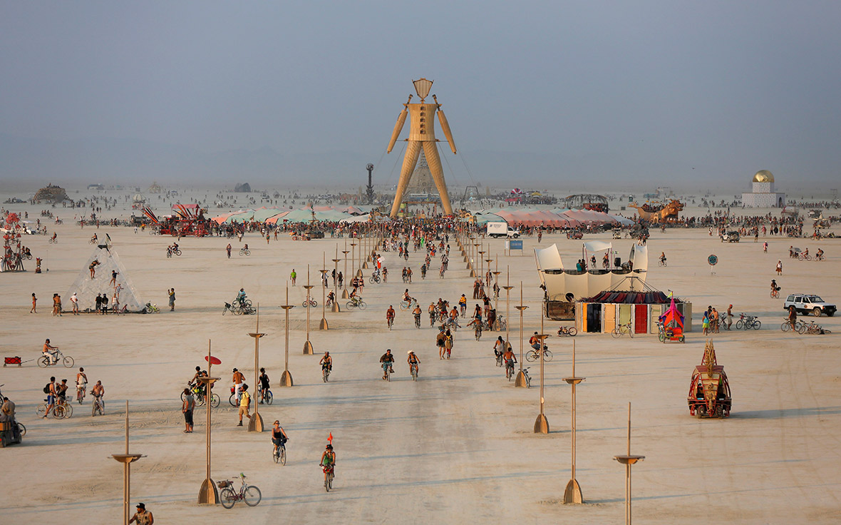 A view of the Playa and the Man during the Burning Man 2014