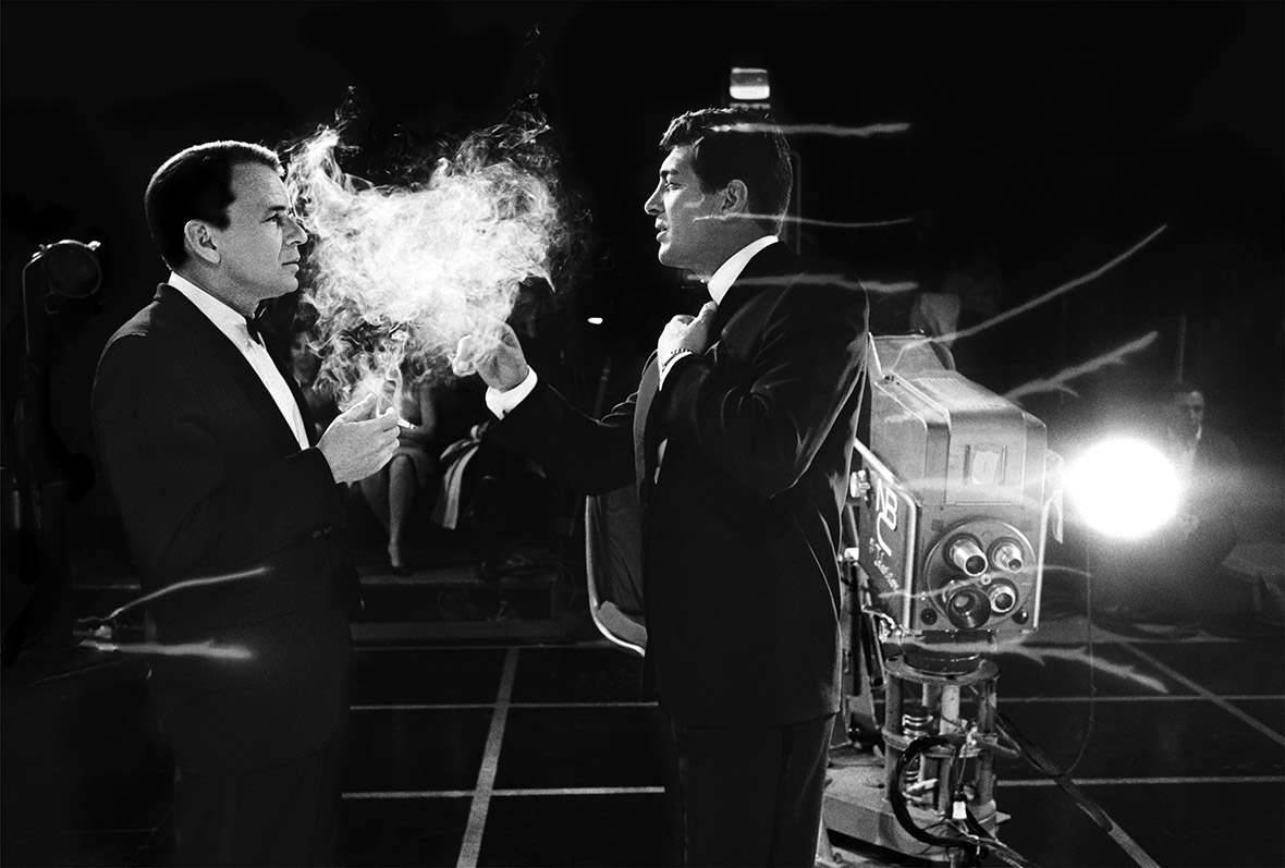 Frank Sinatra and Dean Martin on set of the Judy Garland show, 1962