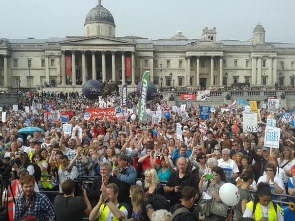 Darlo Mums rally in Trafalgar Square