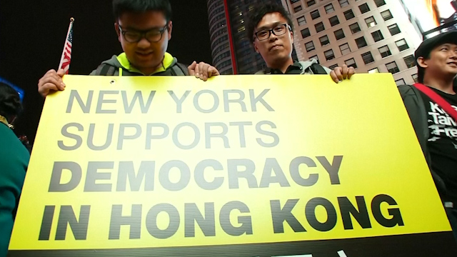 New Yorkers Rally in Support of Hong Kong Protest