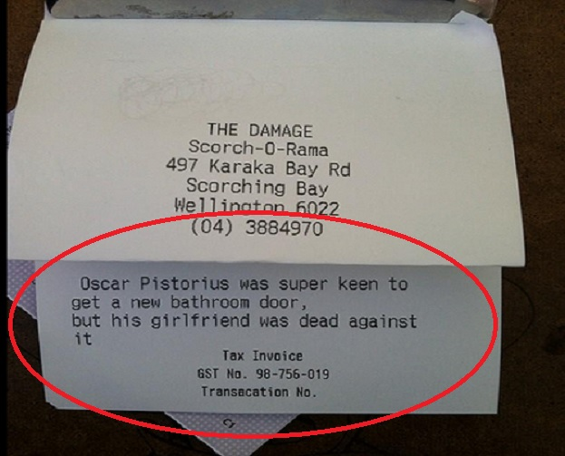 Oscar Pistorius Bathroom Door Joke By Kiwi Restaurant Leaves Bad Taste 1468747 on oscar pistorius prison
