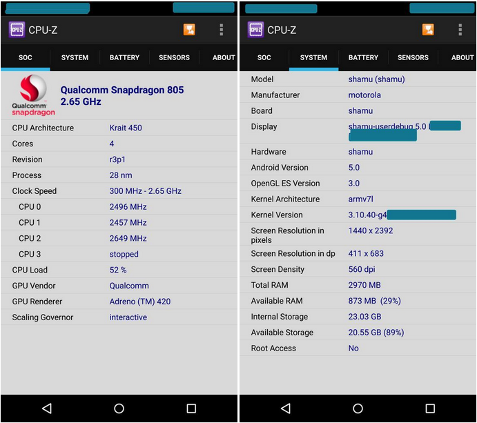 nexus 6 specifications revealed in cpu z benchmark. Black Bedroom Furniture Sets. Home Design Ideas