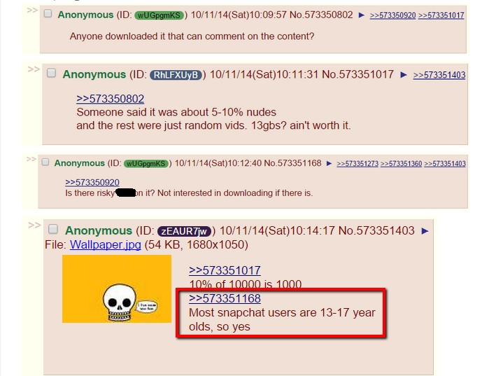 4chan users warned that some of the 39;snappening39; images were from