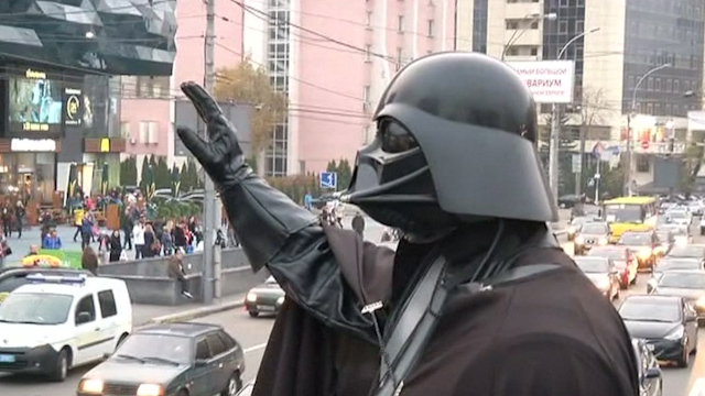 'Darth Vader' Campaigns ahead of Ukrainian Parliament Election