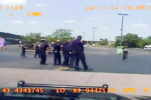 Shocking video shows police lining up to shoot Milton Hall in Saginaw, Michigan