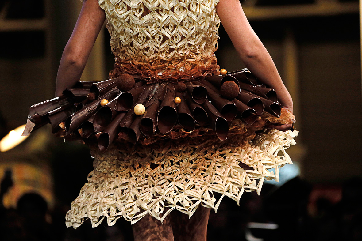 cocoa chanel fashion designers create chocolate dresses