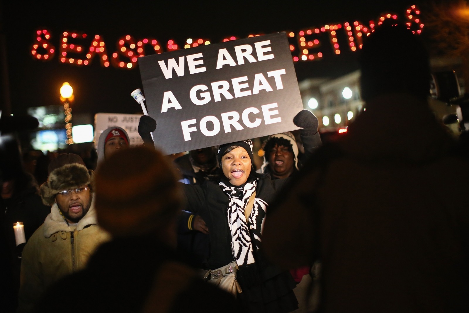Protesters gather in Ferguson ahead of the Darren Wilson verdict (Getty)