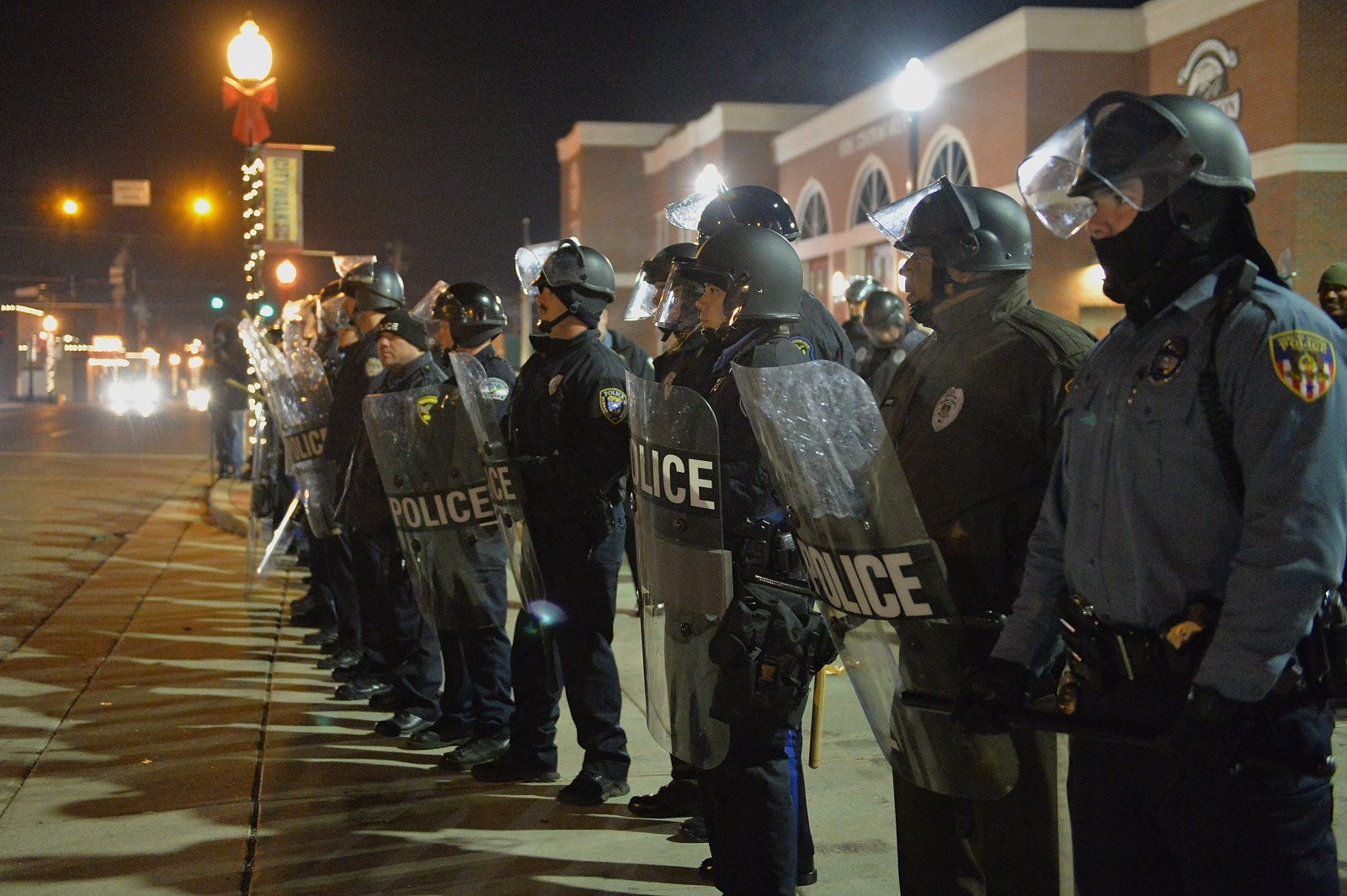 Police in Ferguson, Missouri, ahead of the darren Wilson Grand Jury decision. (Getty)