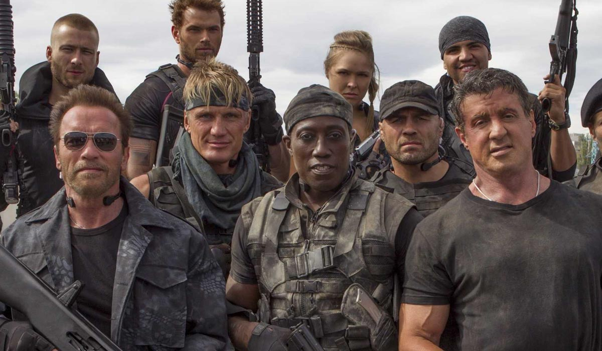 The Expendables 3 cast, lead by (front row, L-R) Arnold Schwarzenegger ...