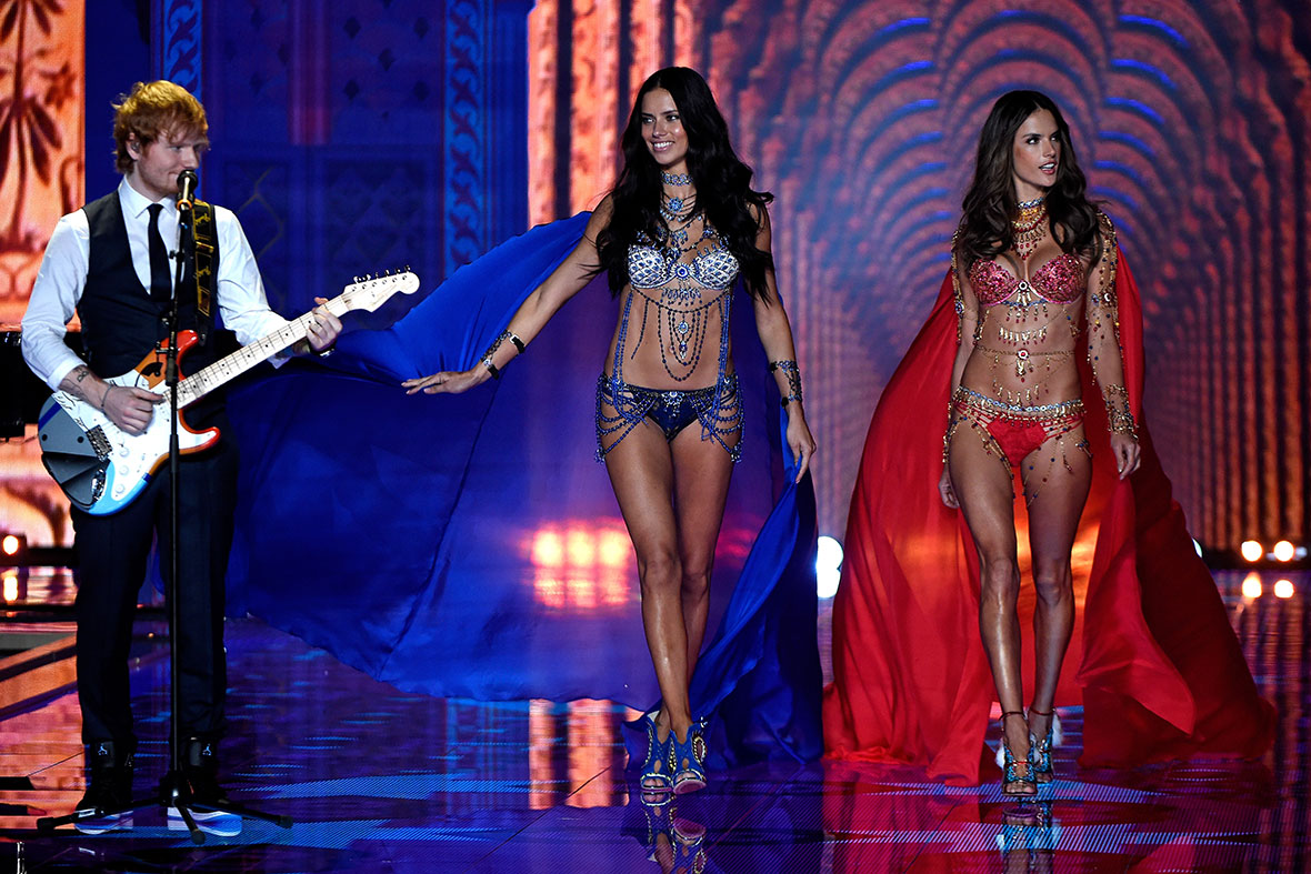2014 Victoria's Secret Fashion Show Ed Sheeran Ed Sheeran smiles sheepishly