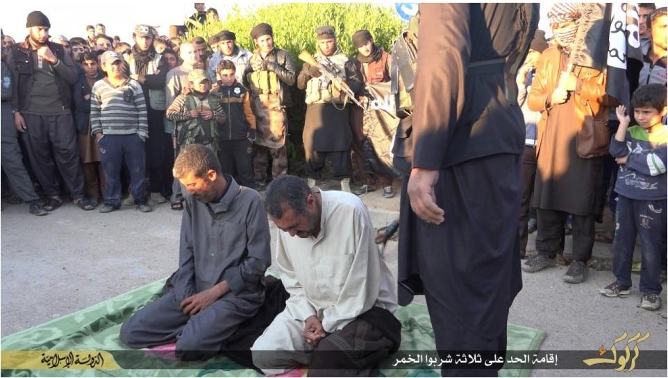 Three Iraqi men whipped for drinking wine.